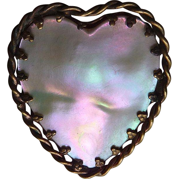 Victorian Colorful Mother of Pearl Heart Brass Frame