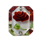 Reverse Carved Lucite Red Rose Pin c1950s