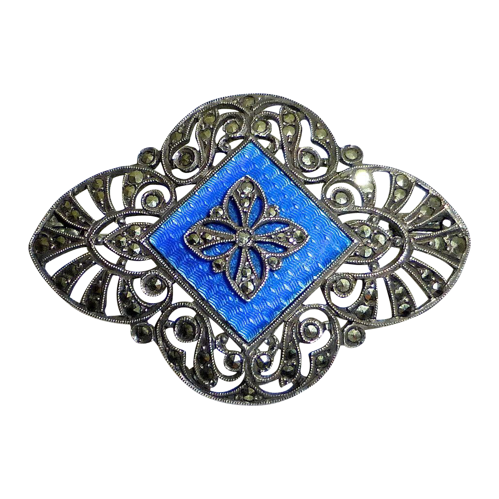 French Art Deco Sterling Marcasite Enamel Pin