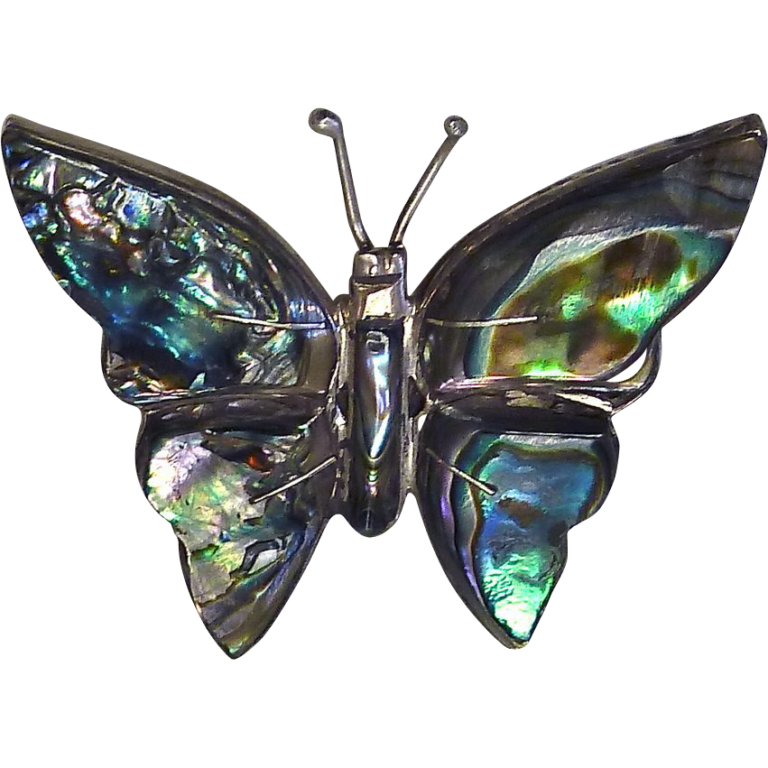 1940s Mexican Sterling & Abalone Butterfly