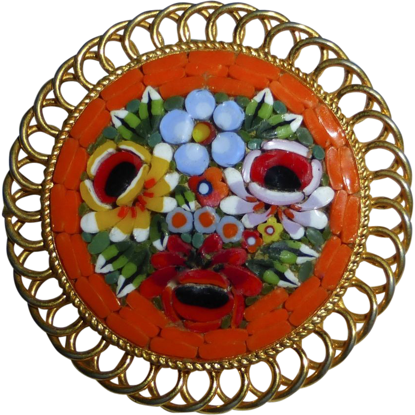 Italian Glass Floral Mosaic Pin Coiled Framed