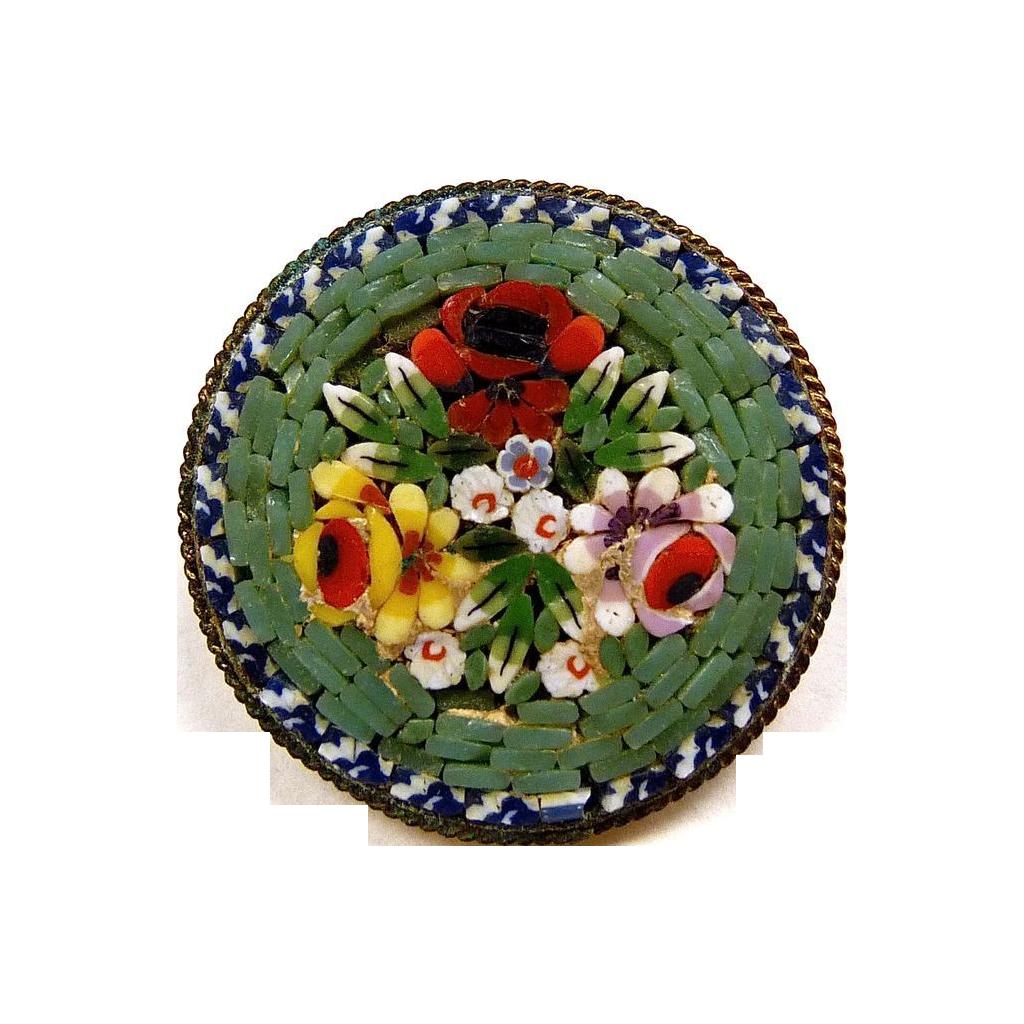 Italian Sage Green Floral Mosaic Brass Pin