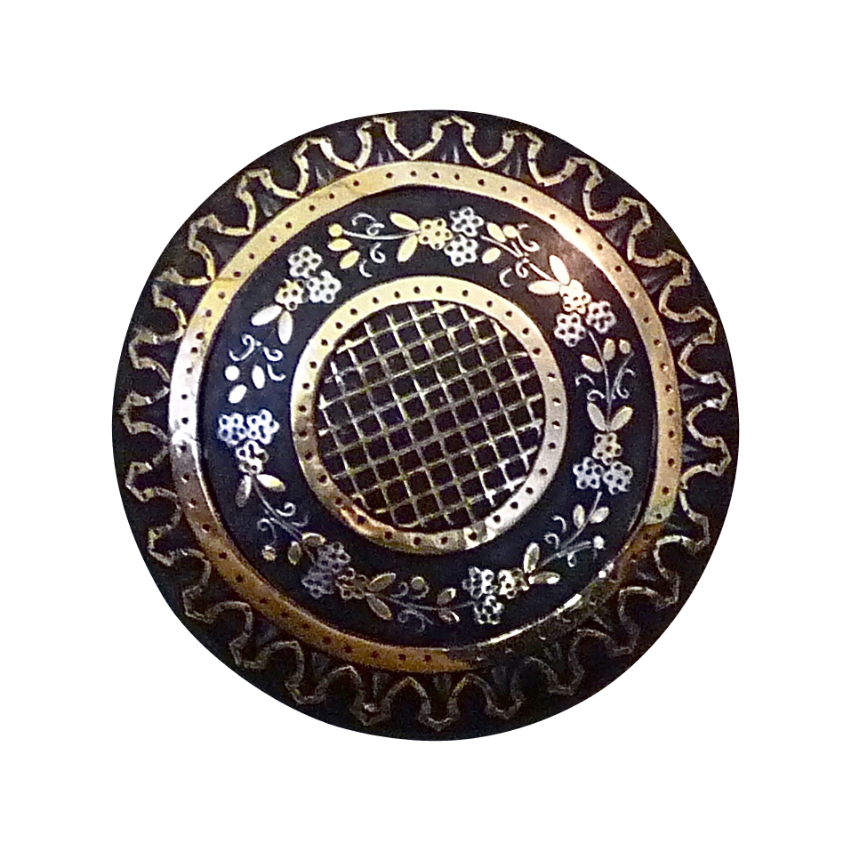 Rare Antique Gold & Silver Pique Domed Pin