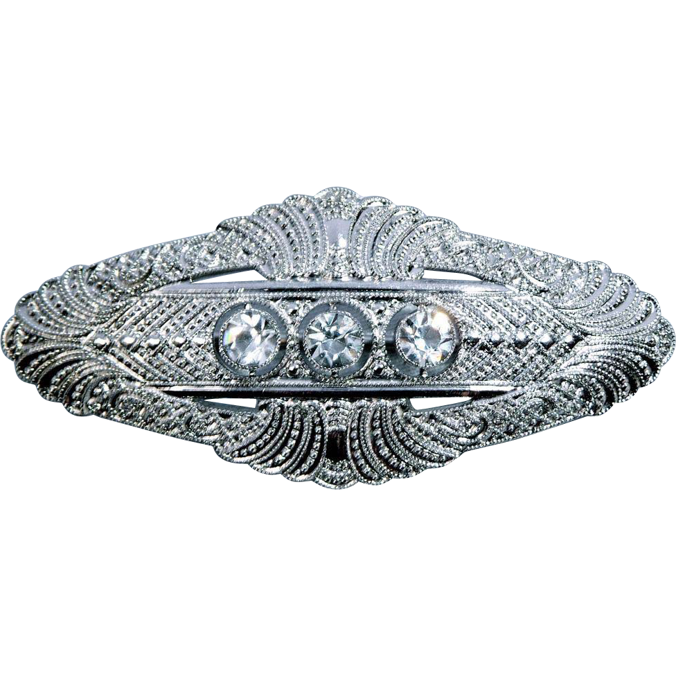 Fine Quality Edwardian Rhodium Plate & Crystal Pin