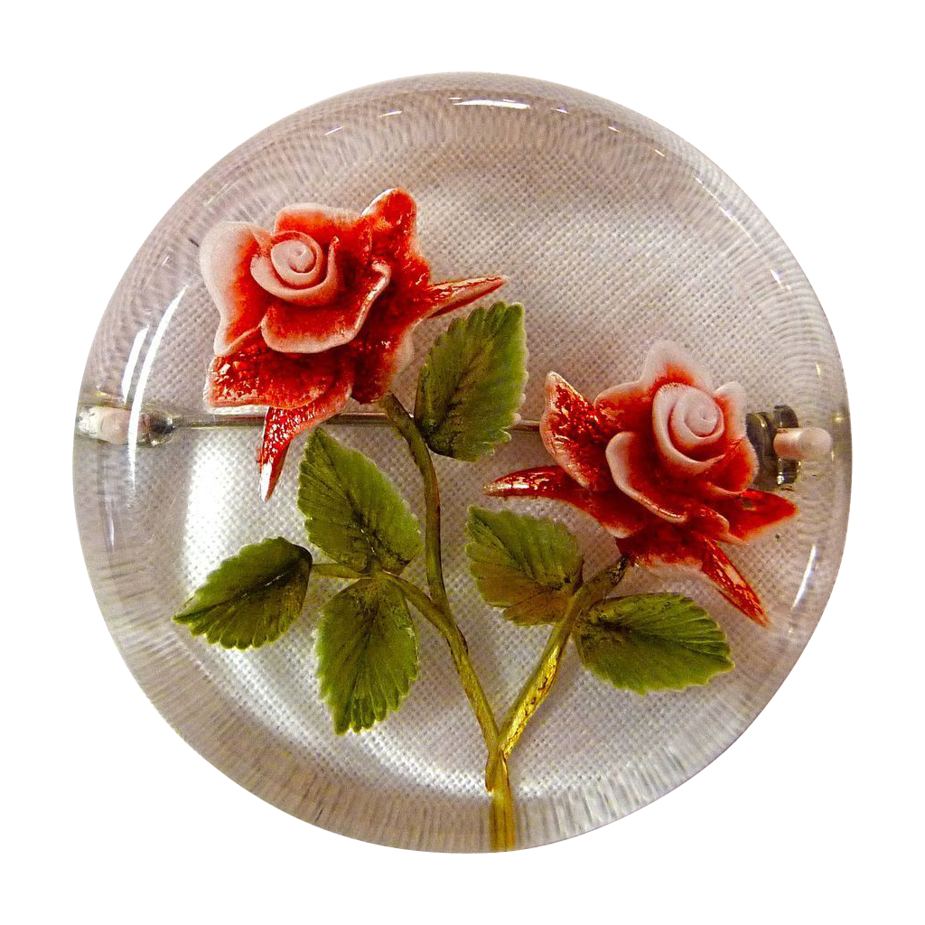 Reverse Carved Lucite Red Roses Pin c1950s