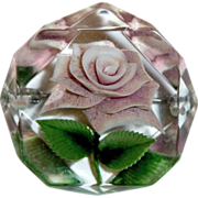 Reverse Carved Lucite Lavender Rose Pin