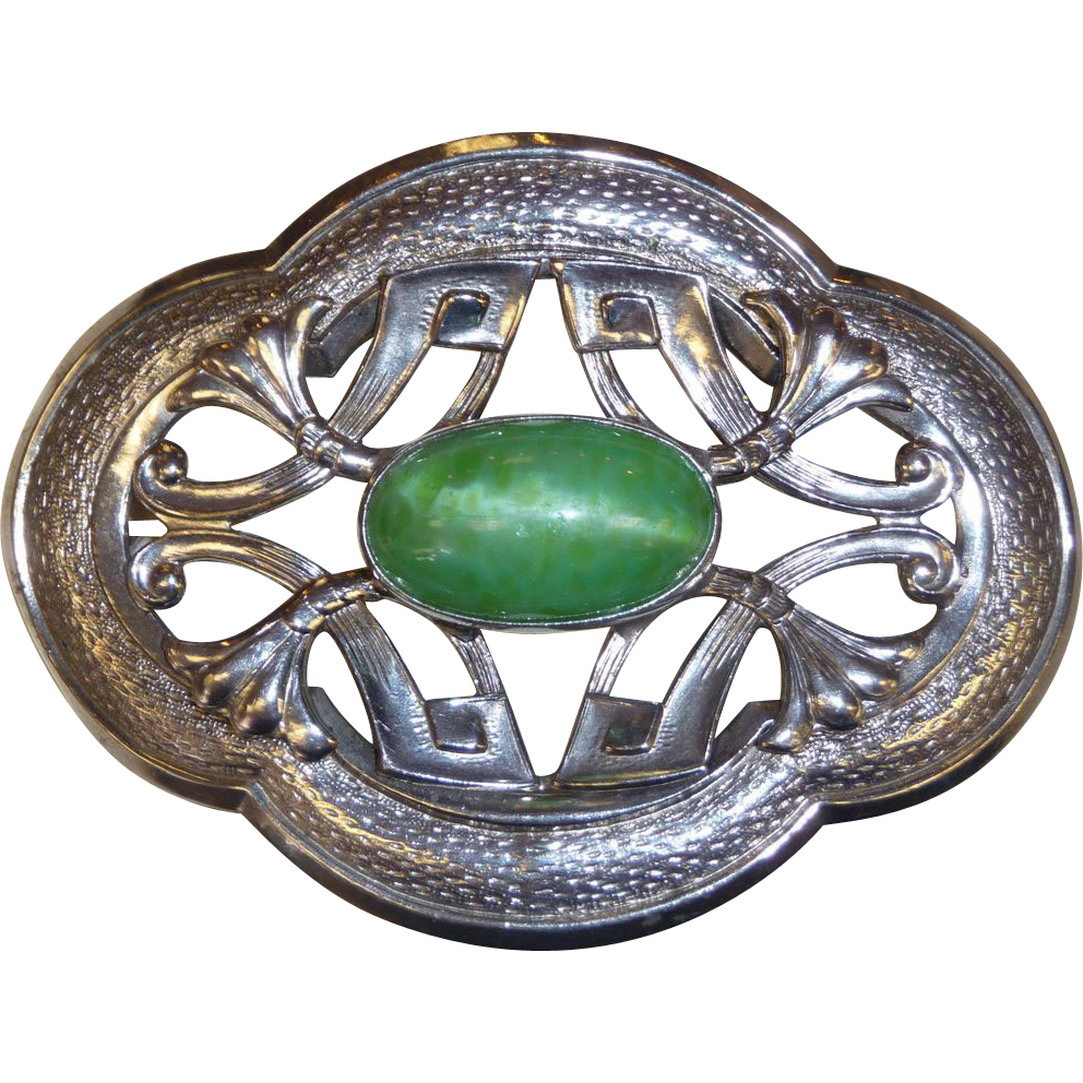 Art Nouveau Sash Ornament Brooch Pearly Green Cab
