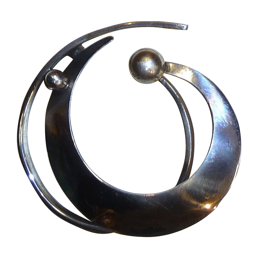 Modernist Beau Sterling Sculptural Curl Pin