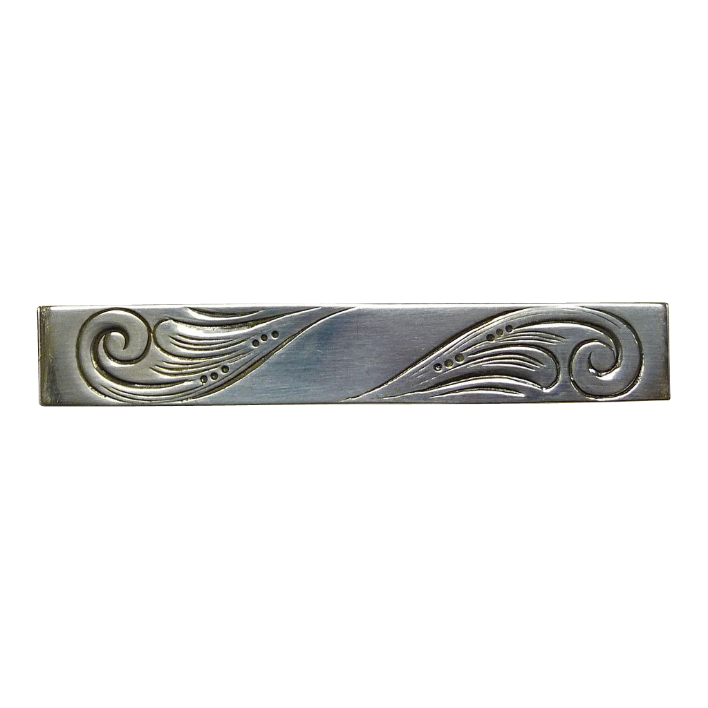 Beau Sterling Engraved Bar Pin w Cartouche