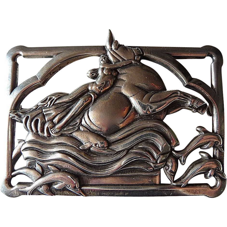 Coro Norseland Sterling Pin Europa & Jupiter Mythology Theme