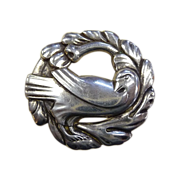 Coro Norseland Sterling Dove & Wreath Pin