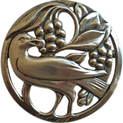 Coro Norseland Sterling Pin Raven Eating Berries