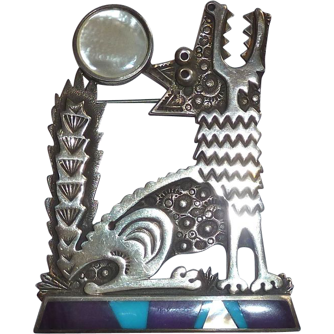 David Lloyd Designer Sterling Howling Wolf Pin w Stone Inlay