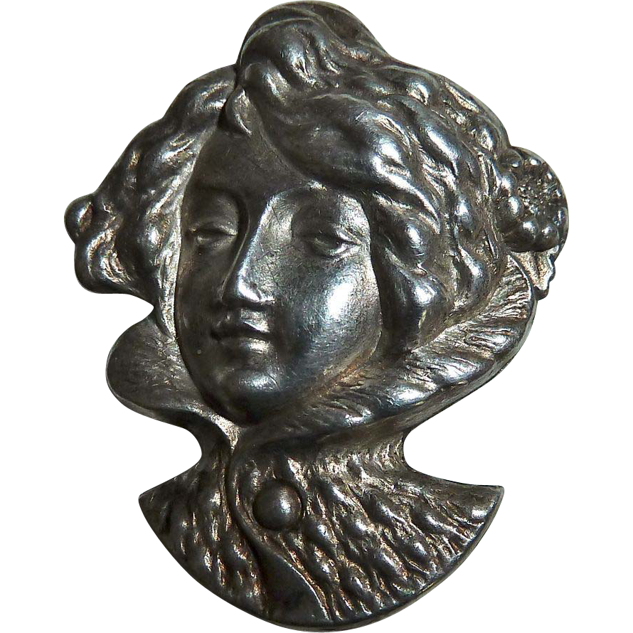 Antique Edwardian Sterling Woman Watch Pin