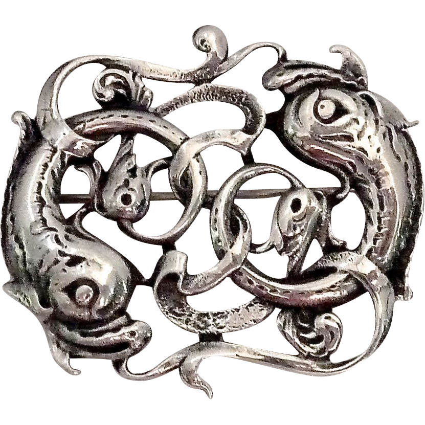 John Hart Iona Celtic Sterling Fish Pin