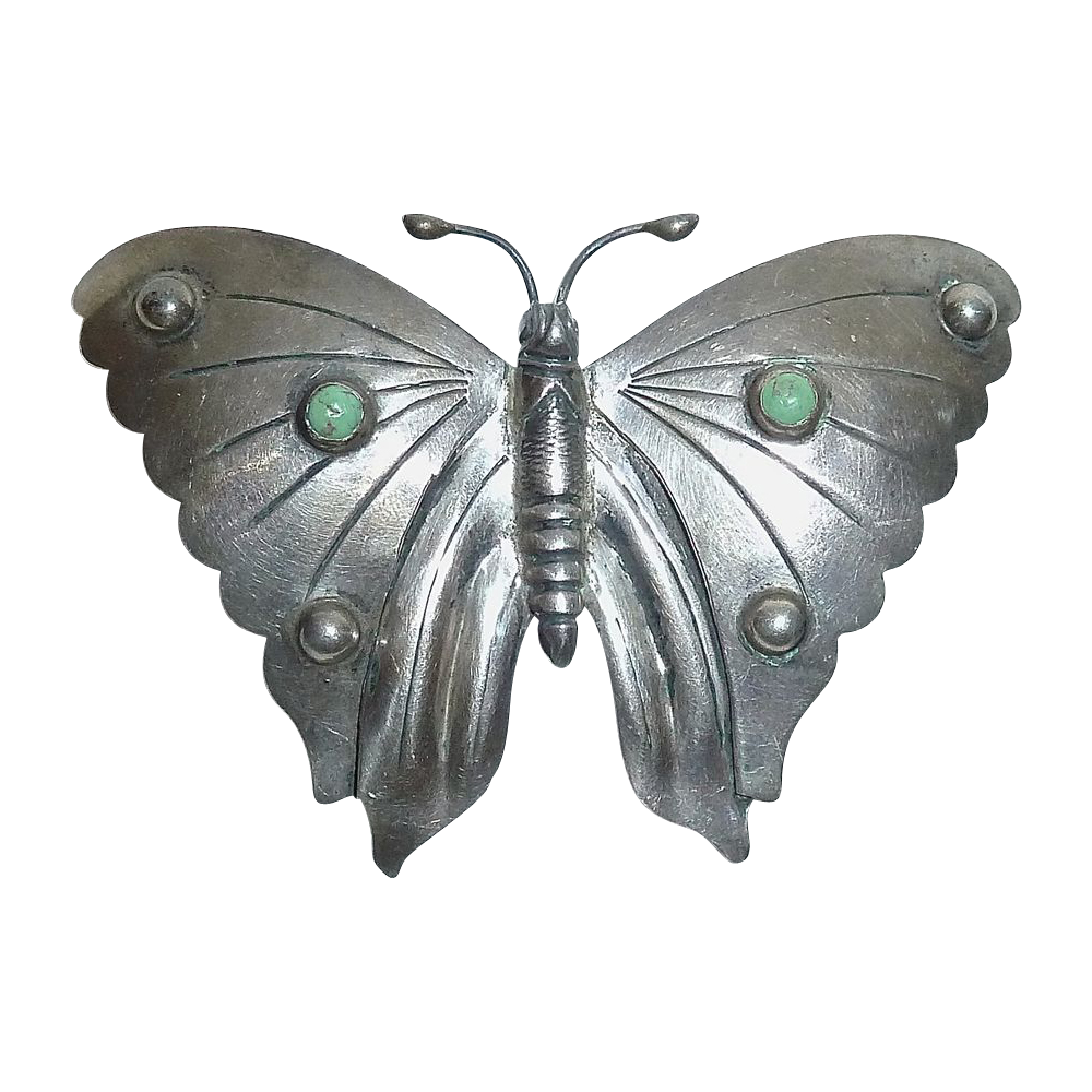 Mexican Sterling Large Butterfly Pin w Turquoise