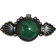 OLD Mexican Large Green Stone Sterling Pin