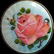 Norway Sterling Finn Jensen Enamel Rose Pin