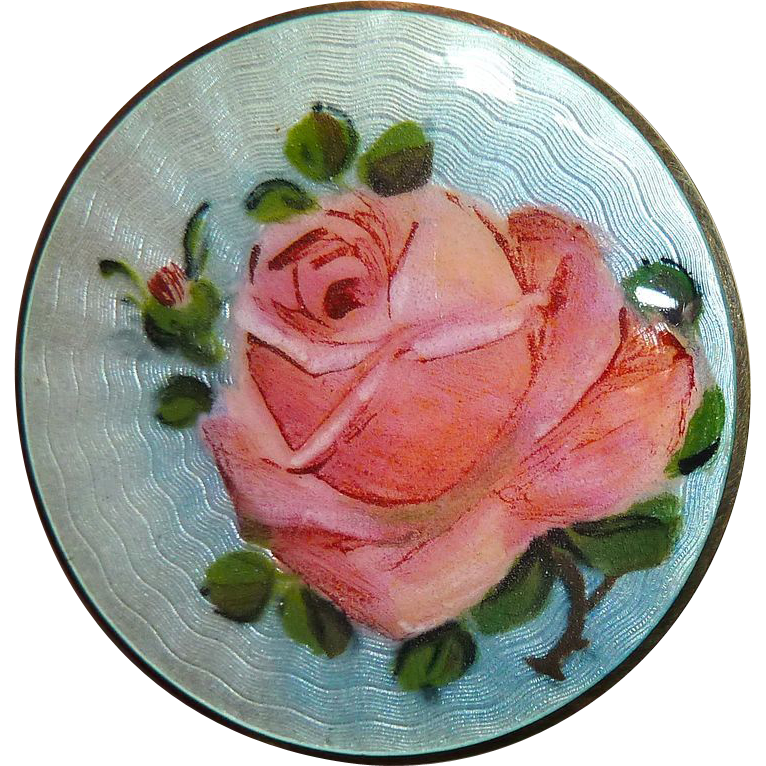 Norway Sterling Finn Jensen Enamel Rose Pin
