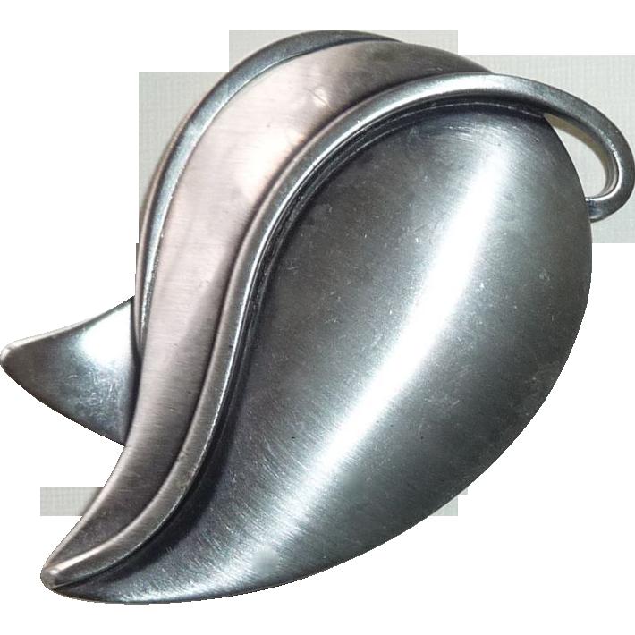 Otto R Bade ORB Sterling Modernist Leaf Pin