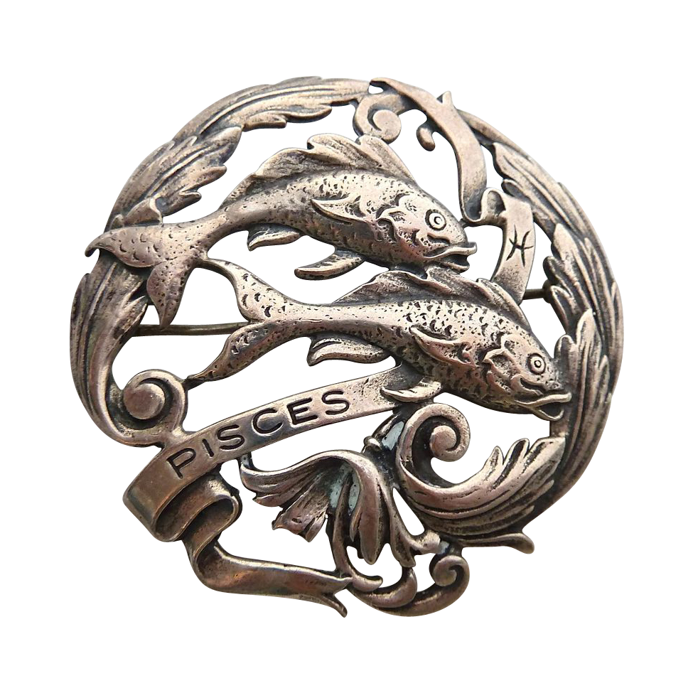 Peruzzi Sterling Silver Zodiac Pin Pisces Double Fish