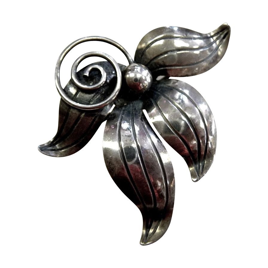 Swedish Sterling Modernist Floral Pin