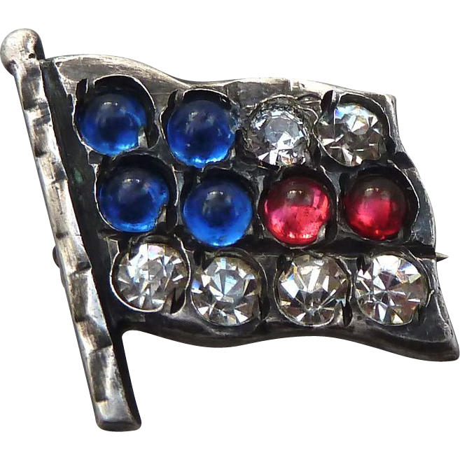 Sterling USA Patriotic Flag Pin w Glass Stones