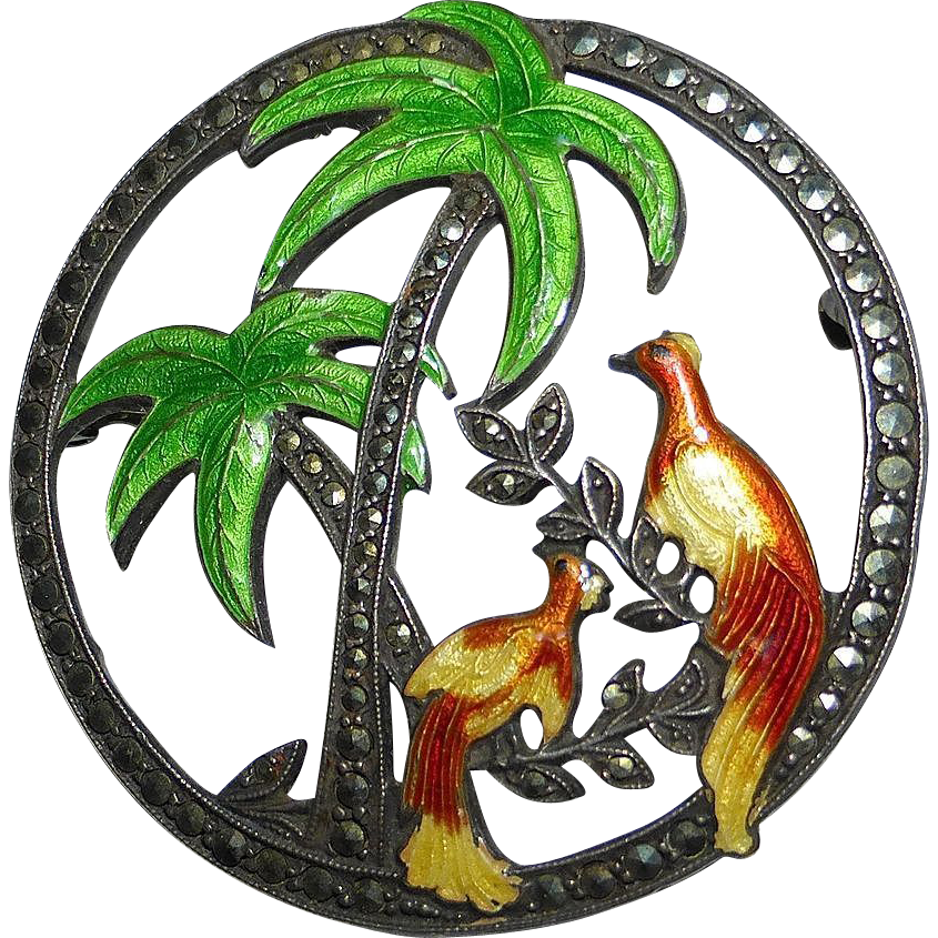 Uncas Sterling Scenic Pin Tropical Birds