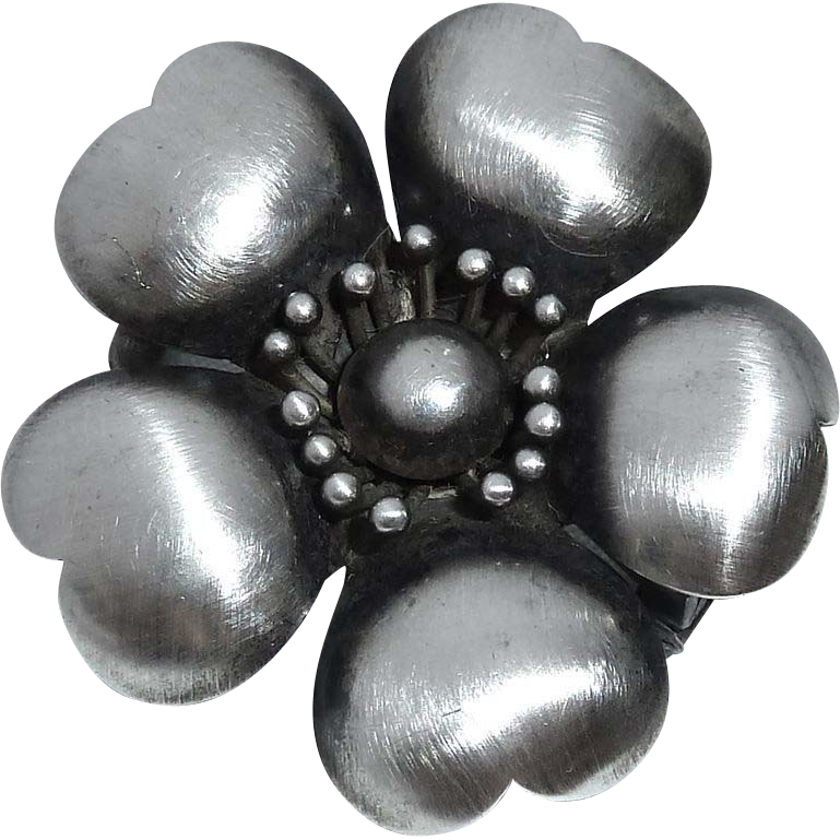 Antique Victorian Sterling Cherry Blossom Pin