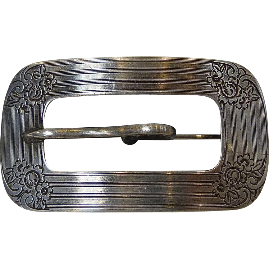 Antique Victorian Sterling Engraved Buckle Brooch
