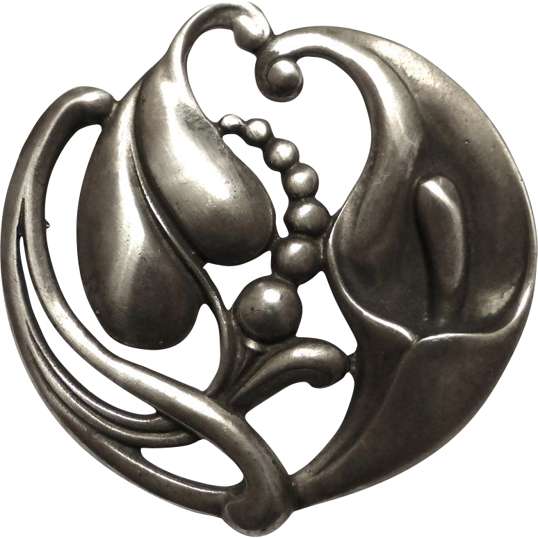Viking Craft Art Deco Sterling Calla Lily Pin