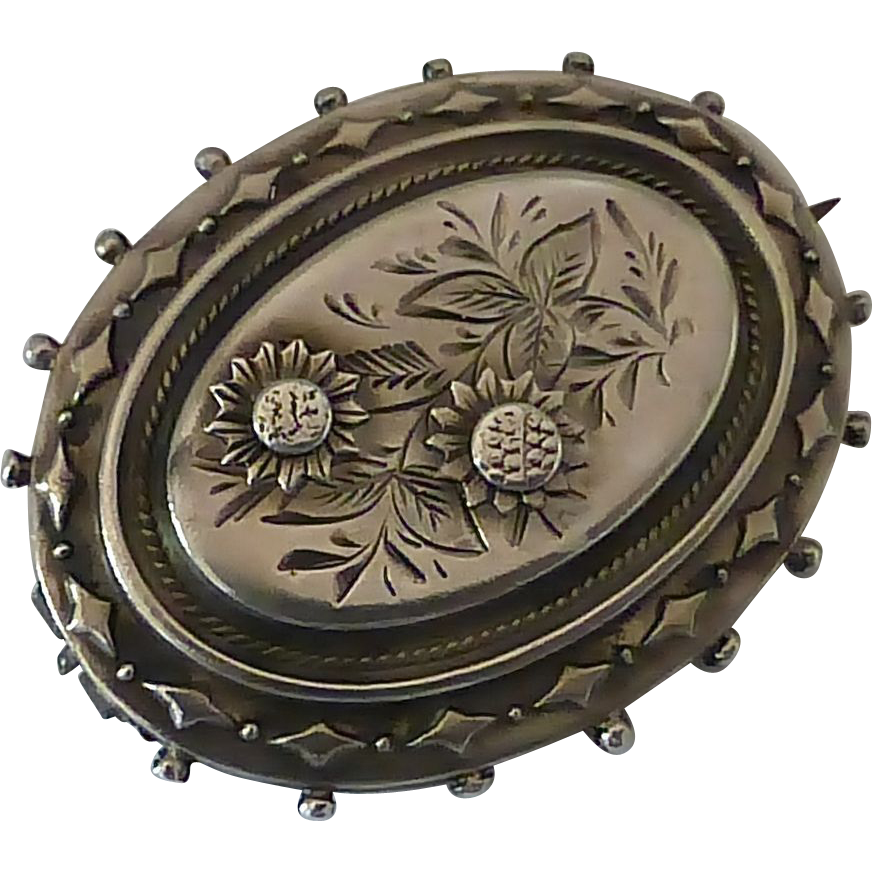 Antique Sterling Aesthetic Engraved Floral Pin