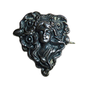 Art Nouveau Sterling Front Pin Woman w Poppies