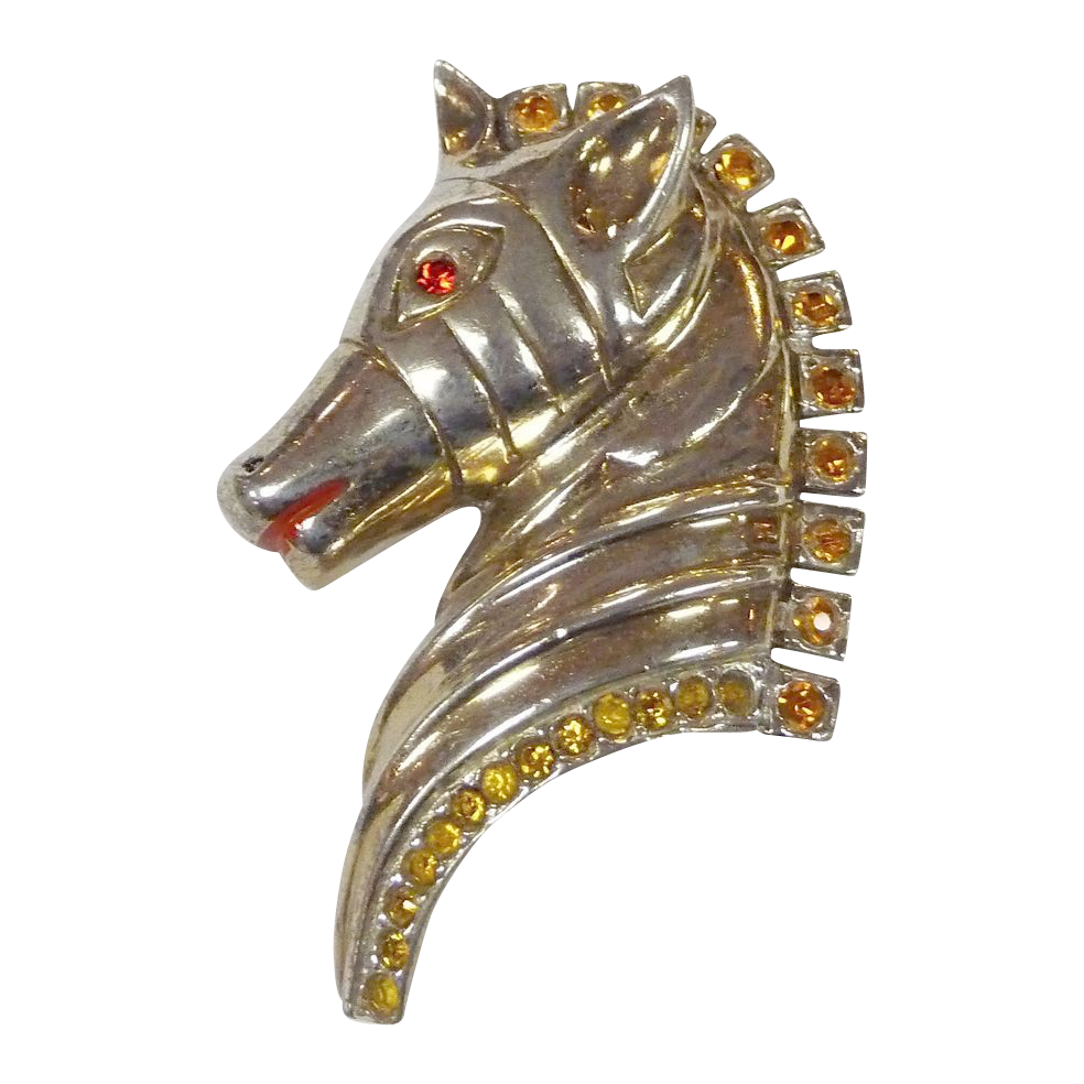 Art Deco Gilt Sterling Jeweled Horse Head Pin