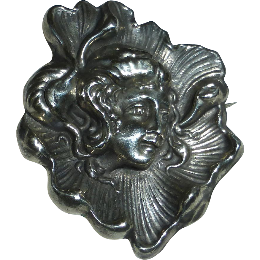 Antique Art Nouveau Sterling Pin Woman in Poppy