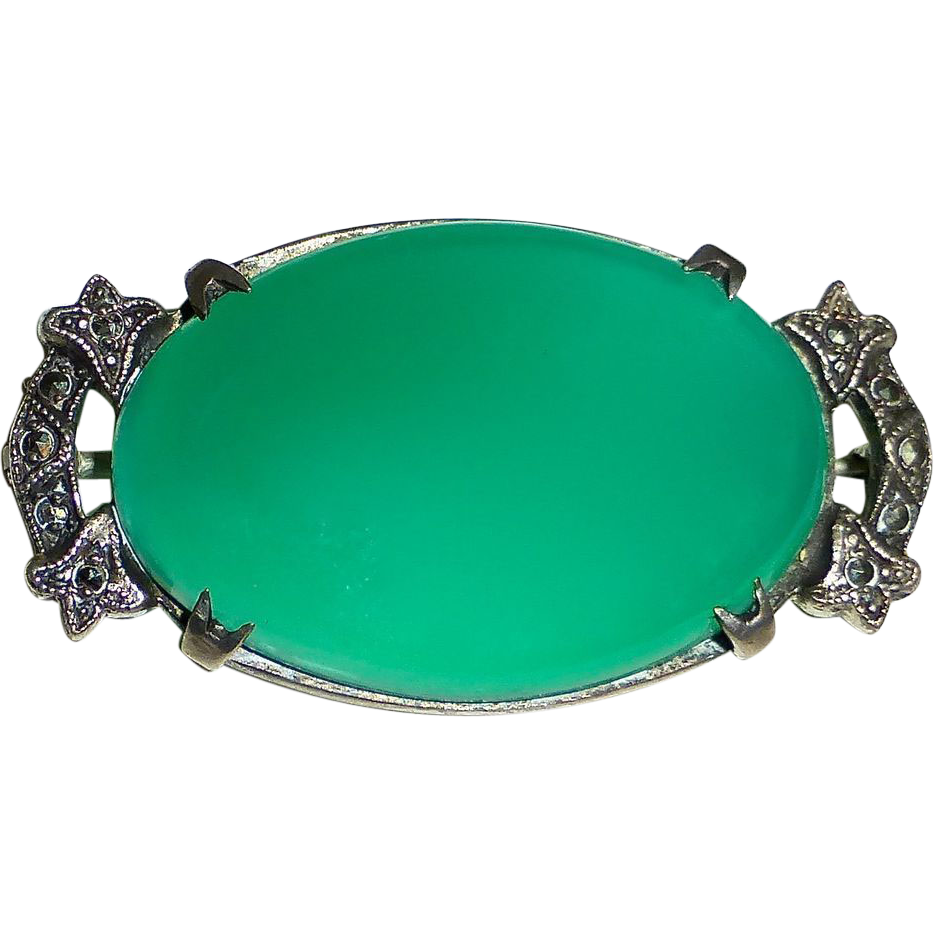 Art Deco Sterling~Chrysoprase~Marcasite Pin