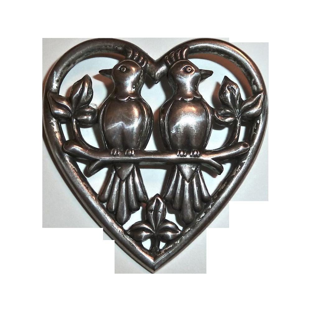 Corocraft Sterling Lovebirds in Heart Pin