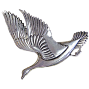 Vintage Coro Norseland Sterling Repousse Canadian Goose Pin
