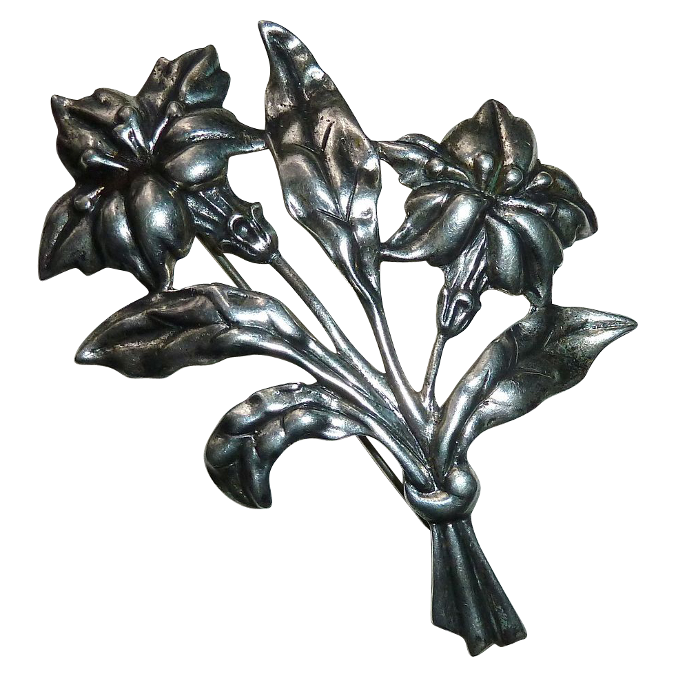 Danecraft Sterling Lily Floral Spray Brooch