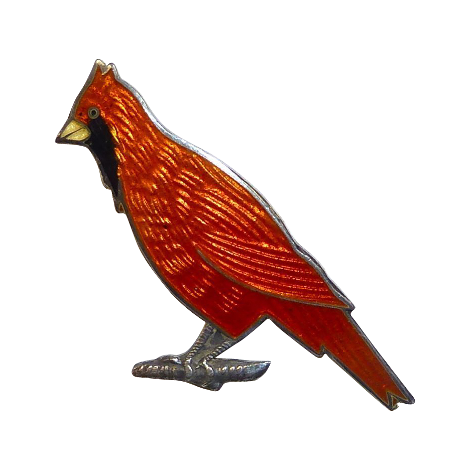 Sterling Silver & Enamel Cardinal Bird Pin