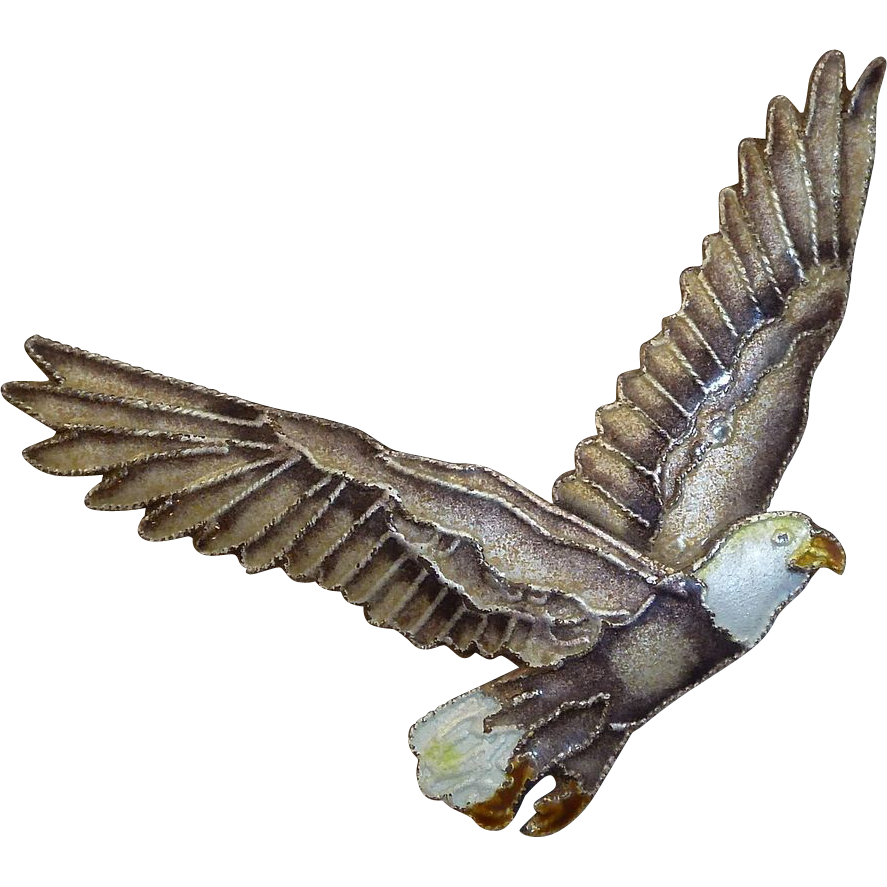 Gilt Sterling & Enamel Eagle in Flight Pin
