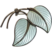 Norway Sterling Enamel Signed Sculptural Leaf Pin
