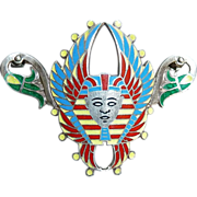 Egyptian Revival Sterling Enamel Winged Pharaoh Head Pin