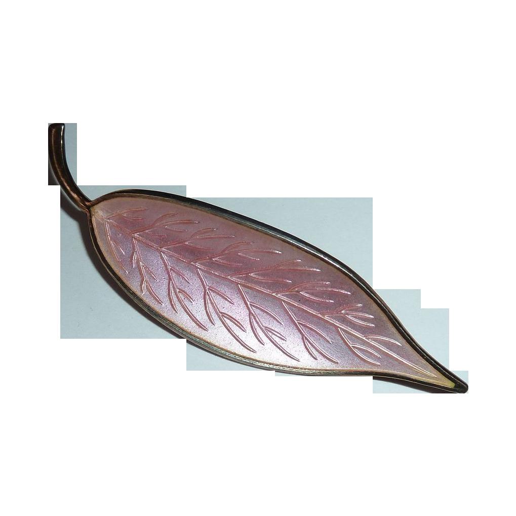 Denmark Sterling Silvery Pink Enamel Leaf Pin