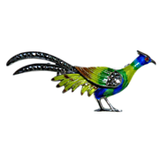 Sterling Enamel Marcasite Figural Exotic Bird Pin