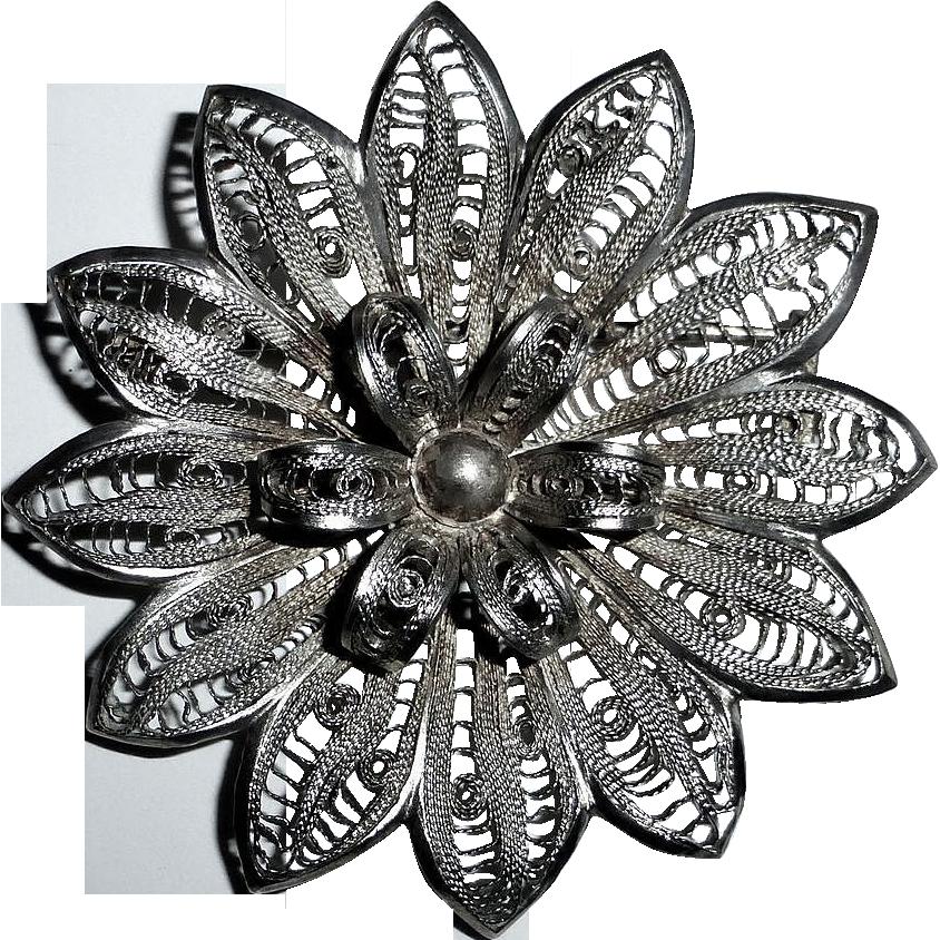 Sterling Large Layered Filigree Flower Pin
