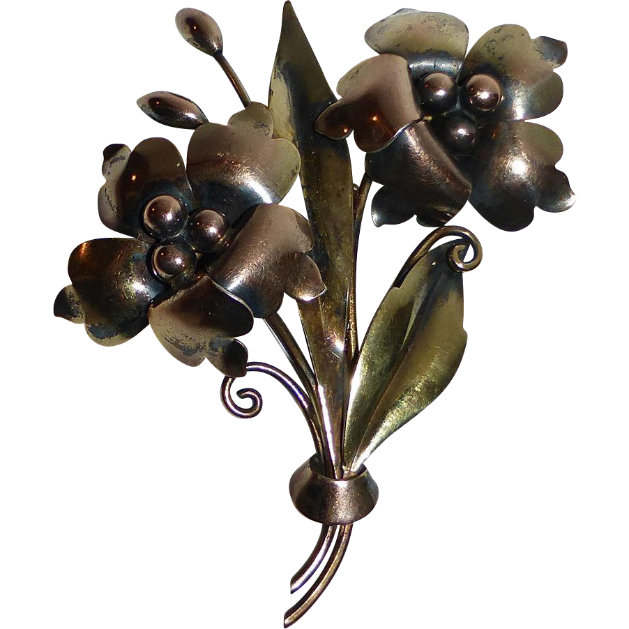 Carl Art Gold Filled Sterling Flower Bouquet Pin