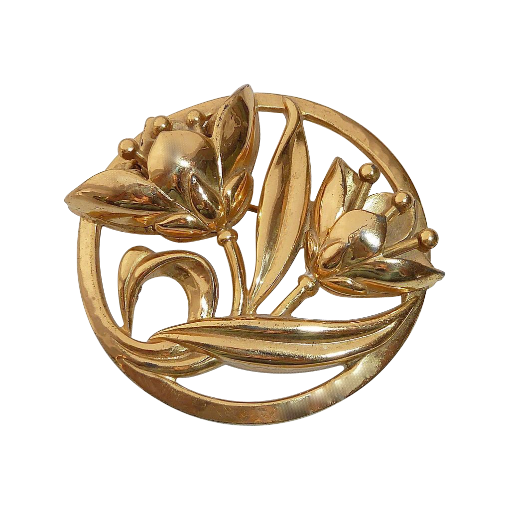 Coro Gilt Sterling Pin w Dimensional Lilies