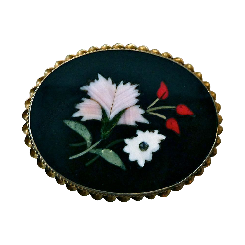 Italian Pietra Dura Gilt Sterling Floral Mosaic