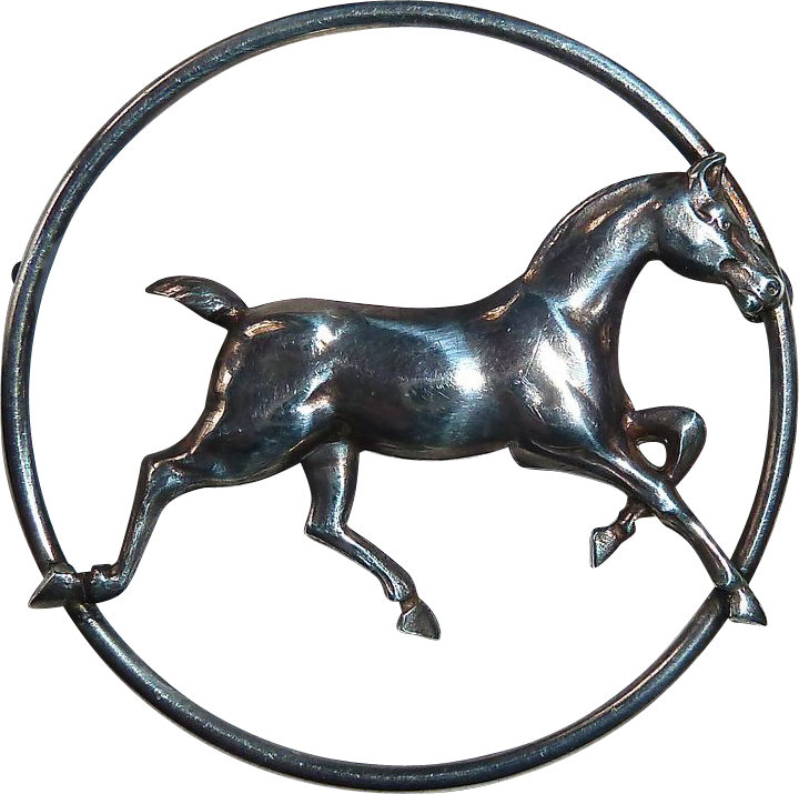 Sterling Silver Trotting Horse Pin